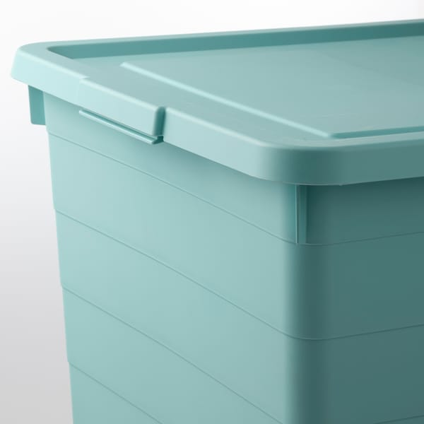 SOCKERBIT Storage box with lid, light blue, 38x51x30 cm