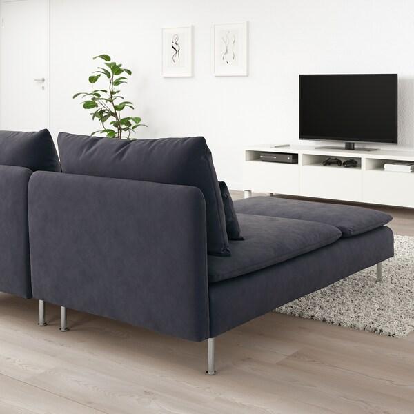 SÖDERHAMN 2-seat sofa with chaise longue/Samsta dark grey 83 cm 69 cm 151 cm 186 cm 99 cm 122 cm 14 cm 70 cm 39 cm