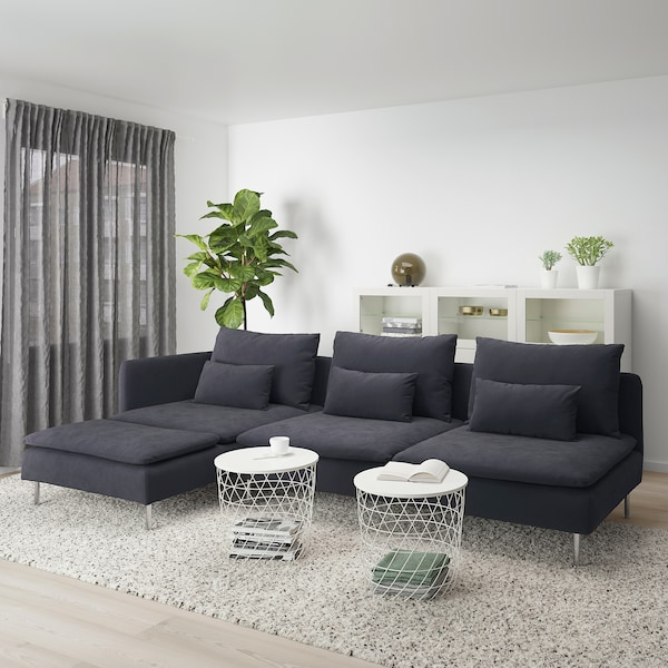 SÖDERHAMN 4-seat sofa, with chaise longue and open end/Samsta dark grey