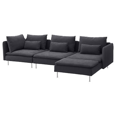 SÖDERHAMN 4-seat sofa, with chaise longue/Samsta dark grey