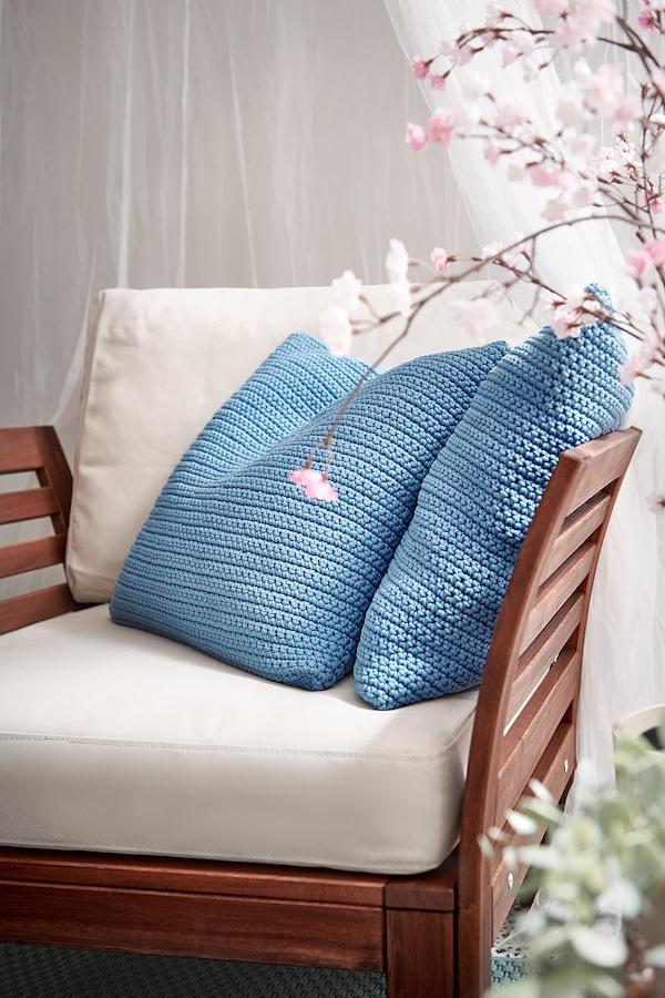 SÖTHOLMEN Cushion cover, in/outdoor, light blue, 50x50 cm