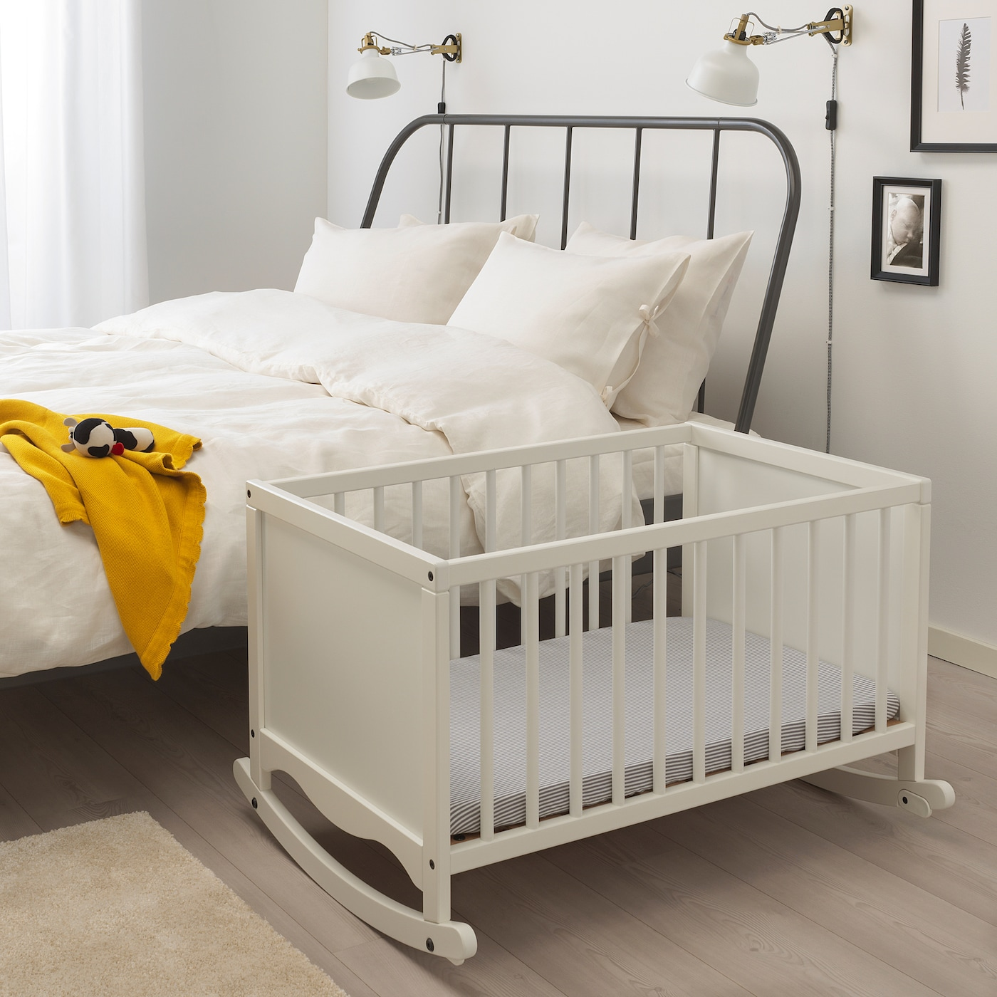 SOLGUL Cradle with foam mattress, white, 66x84 cm