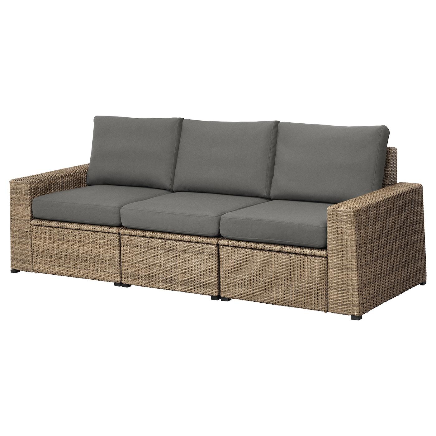 SOLLERÖN 3-seat Modular Sofa, Outdoor Brown/frösön