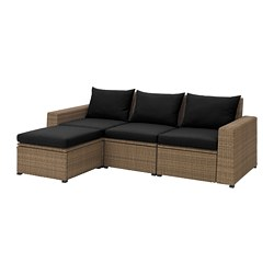 Ikea SollerÖn 3 Seat Sofa With Footstool Outdoor Practical Storage E Under The