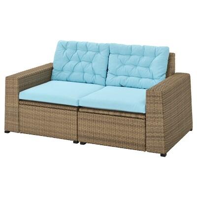 SOLLERÖN 2-seat modular sofa, outdoor, brown/Kuddarna light blue, 161x82x84 cm