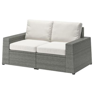 SOLLERÖN 2-seat modular sofa, outdoor, dark grey/Frösön/Duvholmen beige, 161x82x88 cm