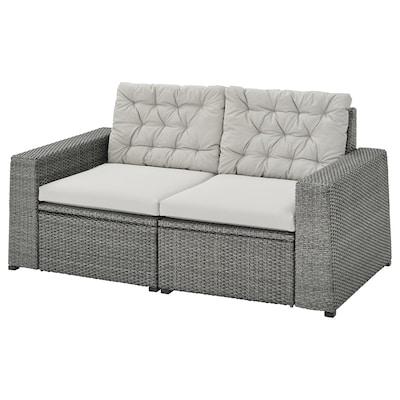 SOLLERÖN 2-seat modular sofa, outdoor, dark grey/Kuddarna grey, 161x82x84 cm