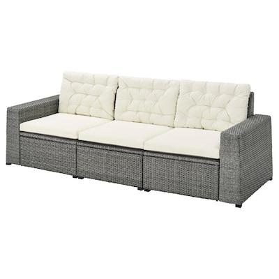 SOLLERÖN 3-seat modular sofa, outdoor, dark grey/Kuddarna beige, 223x82x84 cm