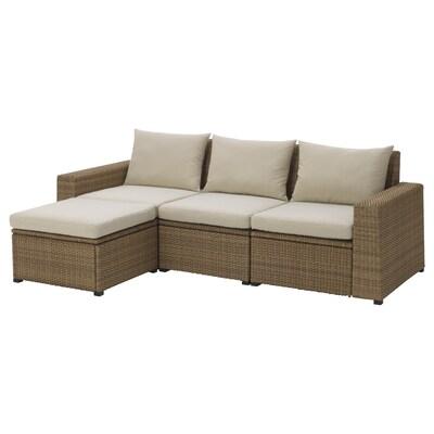 SOLLERÖN 3-seat modular sofa, outdoor, with footstool brown/Hållö beige, 223x144x82 cm