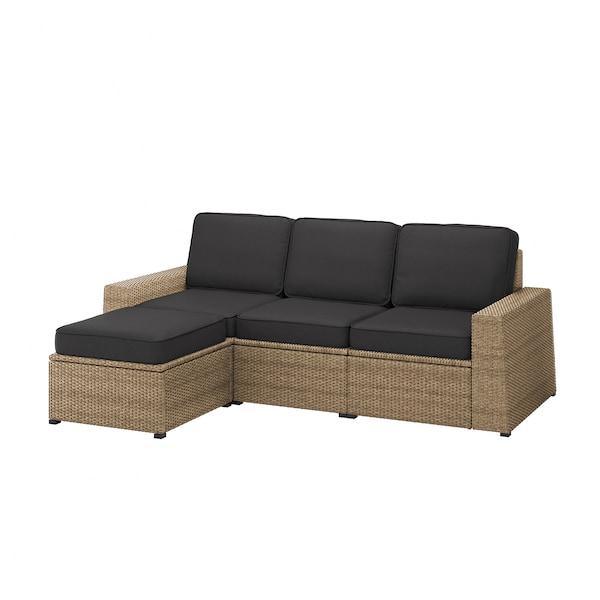 SOLLERÖN 3-seat modular sofa, outdoor, with footstool brown/Järpön/Duvholmen anthracite