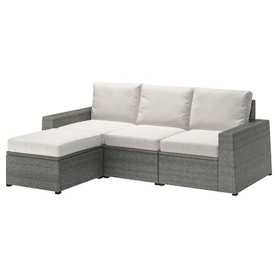 SOLLERÖN 3-seat modular sofa, outdoor, with footstool dark grey/Frösön/Duvholmen beige