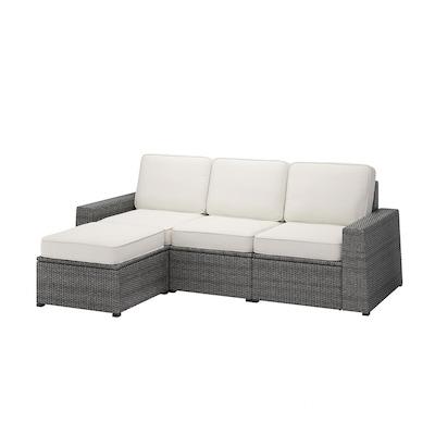 SOLLERÖN 3-seat modular sofa, outdoor, with footstool dark grey/Järpön/Duvholmen white