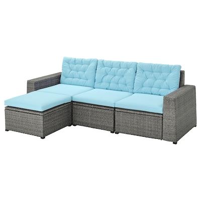 SOLLERÖN 3-seat modular sofa, outdoor, with footstool dark grey/Kuddarna light blue