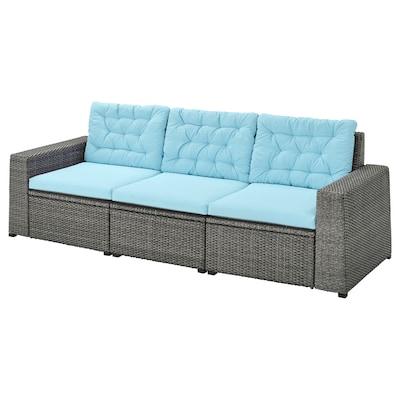 SOLLERÖN 3-seat modular sofa, outdoor dark grey/Kuddarna light blue 223 cm 82 cm 84 cm 187 cm 56 cm 40 cm