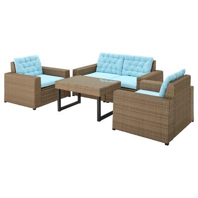 SOLLERÖN 4-seat conversation set, outdoor, brown/Kuddarna light blue