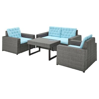 SOLLERÖN 4-seat conversation set, outdoor, dark grey/Kuddarna light blue