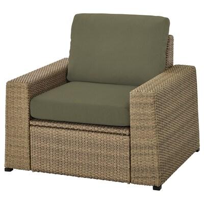 SOLLERÖN Armchair, outdoor, brown/Frösön/Duvholmen dark beige-green
