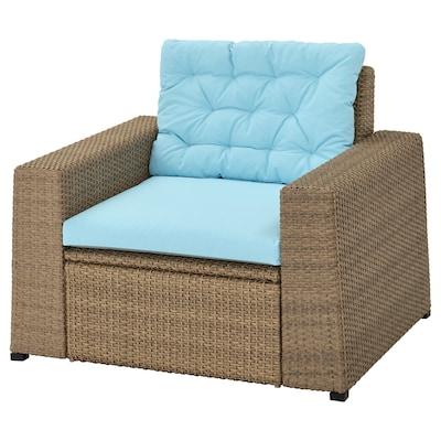 SOLLERÖN Armchair, outdoor, brown/Kuddarna light blue