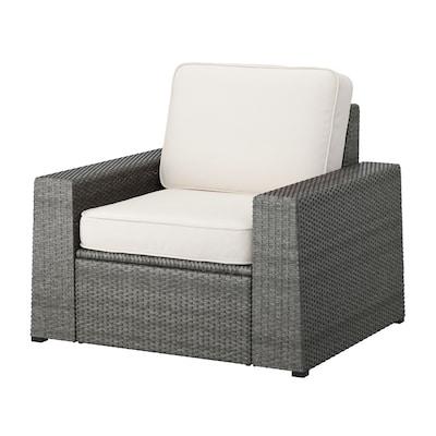 SOLLERÖN Armchair, outdoor, dark grey/Järpön/Duvholmen white