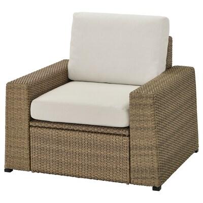 SOLLERÖN armchair, outdoor brown/Frösön/Duvholmen beige 98 cm 82 cm 88 cm 62 cm 48 cm 44 cm