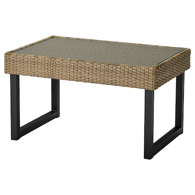 SOLLERÖN Coffee table, outdoor, anthracite/brown, 92x62 cm