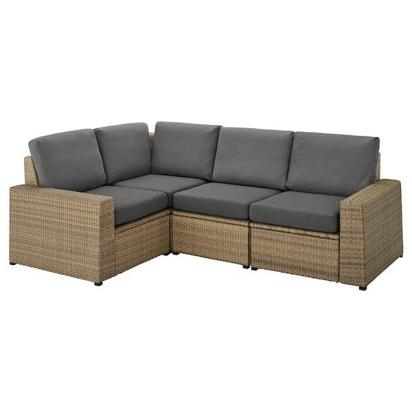 SOLLERÖN Modular corner sofa 3-seat, outdoor, brown/Frösön/Duvholmen dark grey