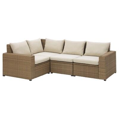 SOLLERÖN Modular corner sofa 3-seat, outdoor, brown/Hållö beige