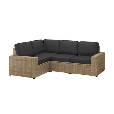 SOLLERÖN Modular corner sofa 3-seat, outdoor, brown/Järpön/Duvholmen anthracite