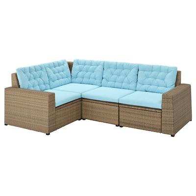 SOLLERÖN Modular corner sofa 3-seat, outdoor, brown/Kuddarna light blue
