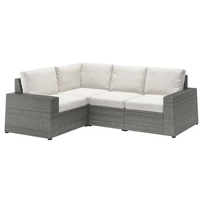 SOLLERÖN Modular corner sofa 3-seat, outdoor, dark grey/Frösön/Duvholmen beige
