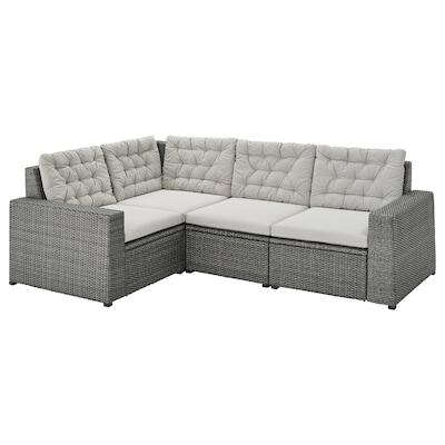 SOLLERÖN Modular corner sofa 3-seat, outdoor, dark grey/Kuddarna grey