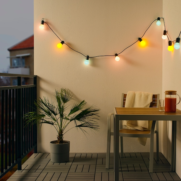 SOLVINDEN LED lighting chain with 12 bulbs outdoor/multicolour 4.0 m 40 cm 4.4 m 3.0 W 8.4 m