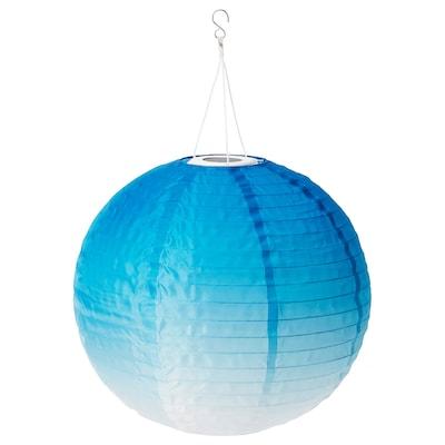 SOLVINDEN LED solar-powered pendant lamp, outdoor/globe blue toned, 45 cm