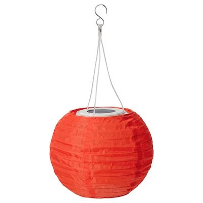 SOLVINDEN LED solar-powered pendant lamp, outdoor/globe orange, 22 cm