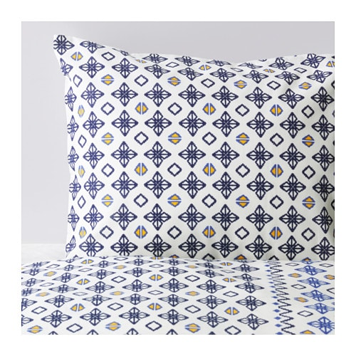 SOMMAR 2017 Quilt cover and 4 pillowcases Whiteblue