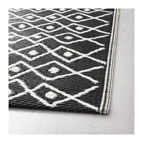 sommar 2017 rug flatwoven in outdoor black white 75x200 cm ikea