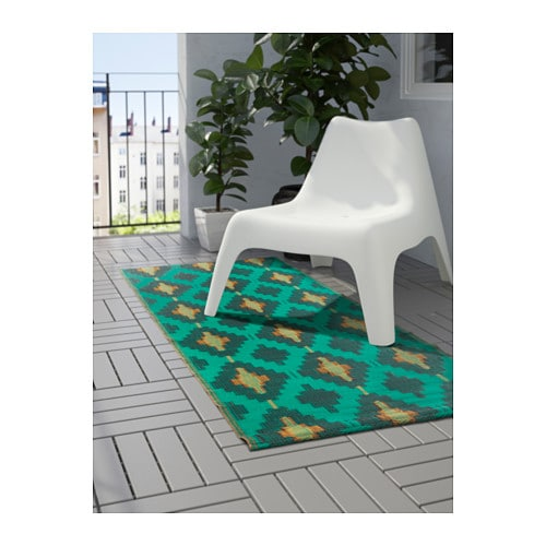 sommar 2017 rug flatwoven in outdoor green yellow 75x200 cm ikea. Black Bedroom Furniture Sets. Home Design Ideas
