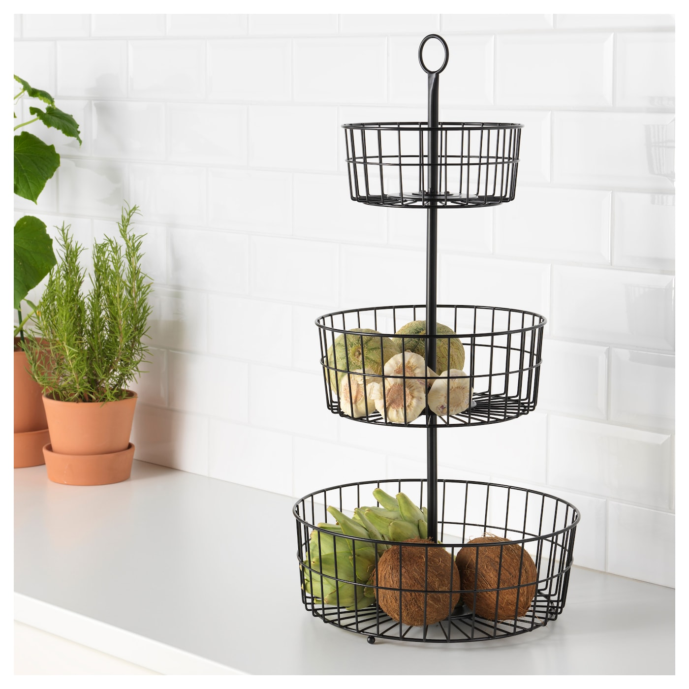 Sommar 2018 3 tier serving basket black ikea for Stand de fruits ikea