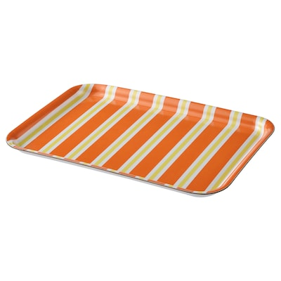 SOMMARLIV Tray, striped/orange/yellow, 20x28 cm