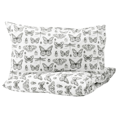 SOMMARMALVA quilt cover and 2 pillowcases white/dark grey 152 /inch² 2 pack 200 cm 200 cm 50 cm 80 cm