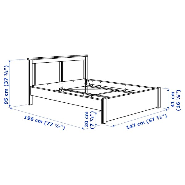 SONGESAND Bed frame, white/Lönset, Standard Double