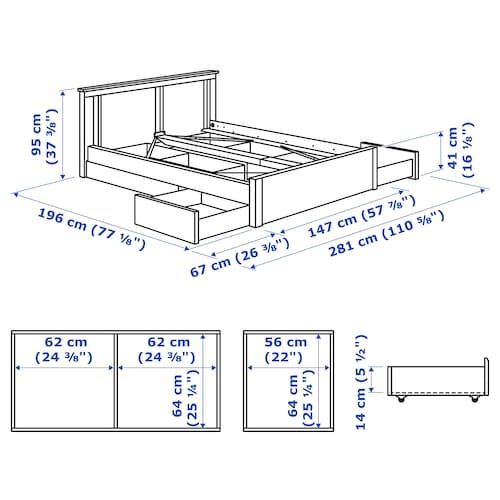 SONGESAND Bed frame with 4 storage