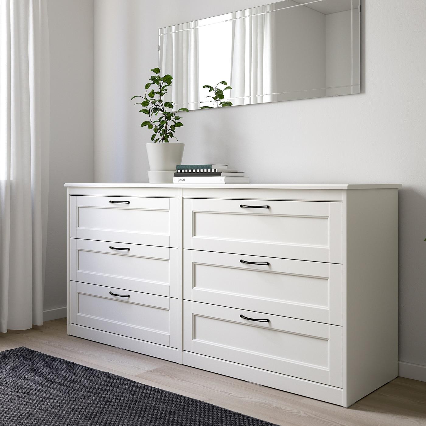 SONGESAND Chest of 6 drawers white 161x81 cm