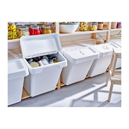 Sortera waste sorting bin with lid white 60 l ikea - Sticker meuble ikea ...