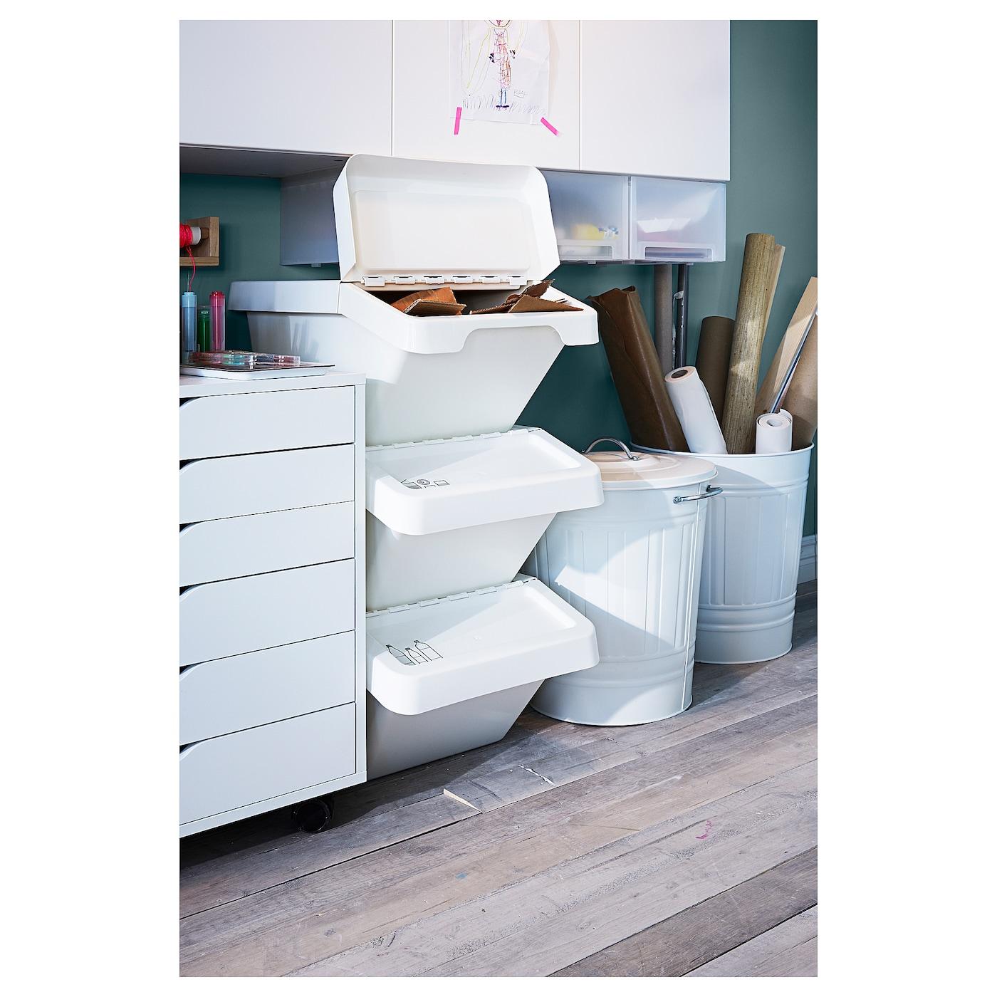 Sortera White Waste Sorting Bin With Lid 37 L Ikea