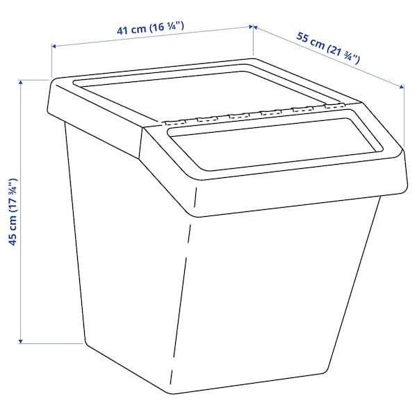 SORTERA Waste sorting bin with lid, white, 60 l