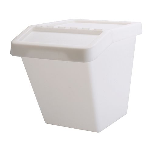SORTERA Waste sorting bin with lid IKEA Folding lid for easy access of the contents in a stack of boxes.