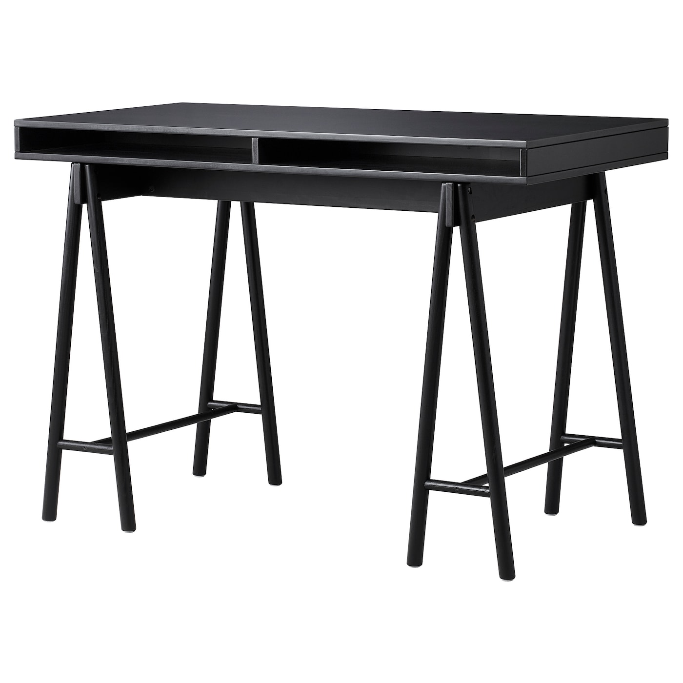 IKEA SPÄNST table top with trestles The clear-lacquered surface is easy to wipe clean.