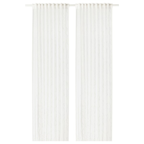 SPARVÖRT Sheer curtains, 1 pair, white, 145x250 cm