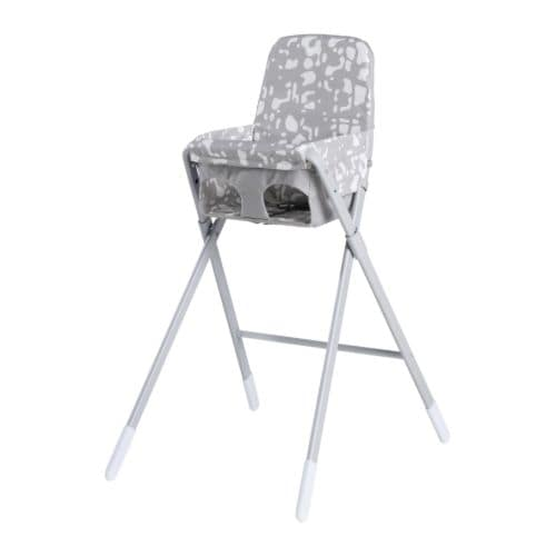 SPOLING Highchair with safety belt IKEA Foldable; easy to stow away when not in use.  Practical storage pocket behind the backrest.